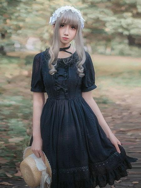 Milanoo Vestido Lolita JSK clasico Falda Jumper de Neverland con volantes y lazo de encaje Falda Jumper de Lolita blanca