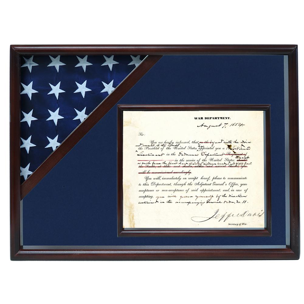 Ceremonial Flag and Doc Case, Walnut, Blue Velvet background