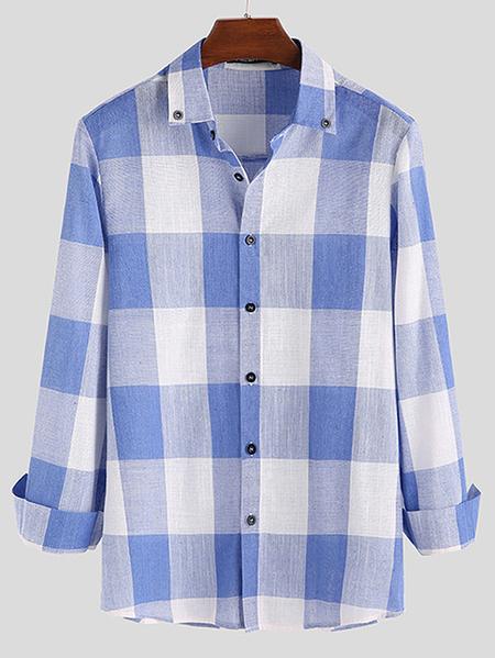 Yoins INCERUN Men Long Sleeve Casual Check Button Up Shirt