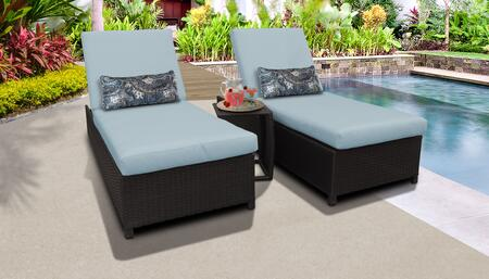 Belle BELLE-W-2x-ST-SPA Patio Set with 2 Chaise with Wheels  1 Side Table - Wheat and Spa