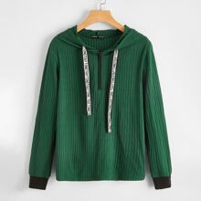 Sweatshirt mit Buchstaben Muster, Kordelzug, Reissverschluss vorn und Kapuze