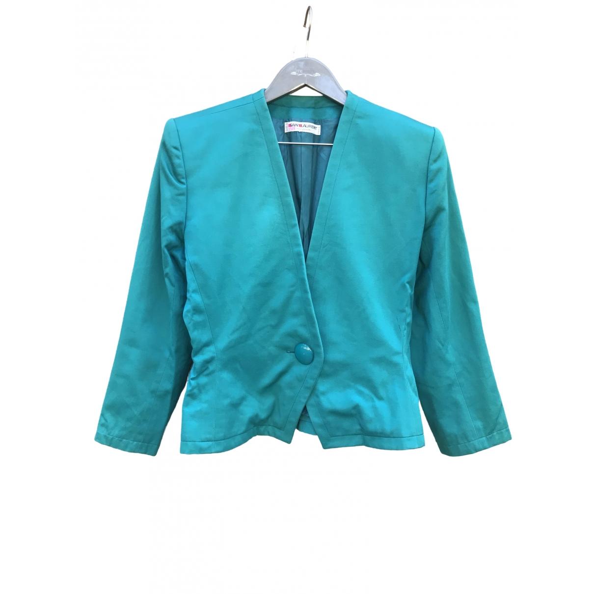Yves Saint Laurent \N Turquoise Cotton jacket for Women M International