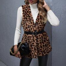 Chaleco con pelo sintetico de leopardo sin cinturon