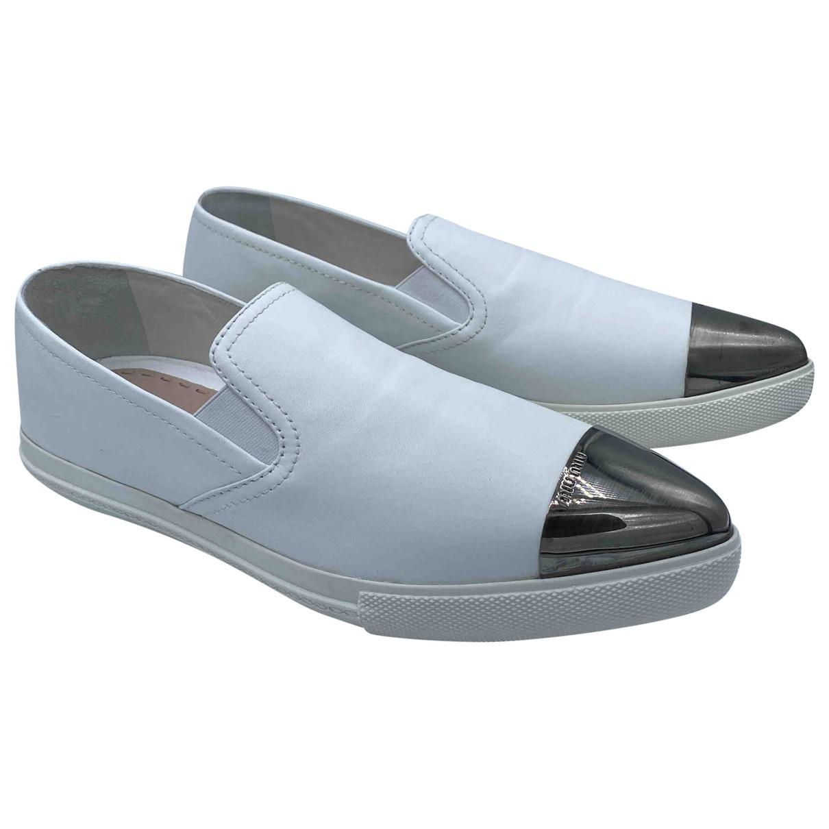 Miu Miu N White Leather Flats for Women 40 EU