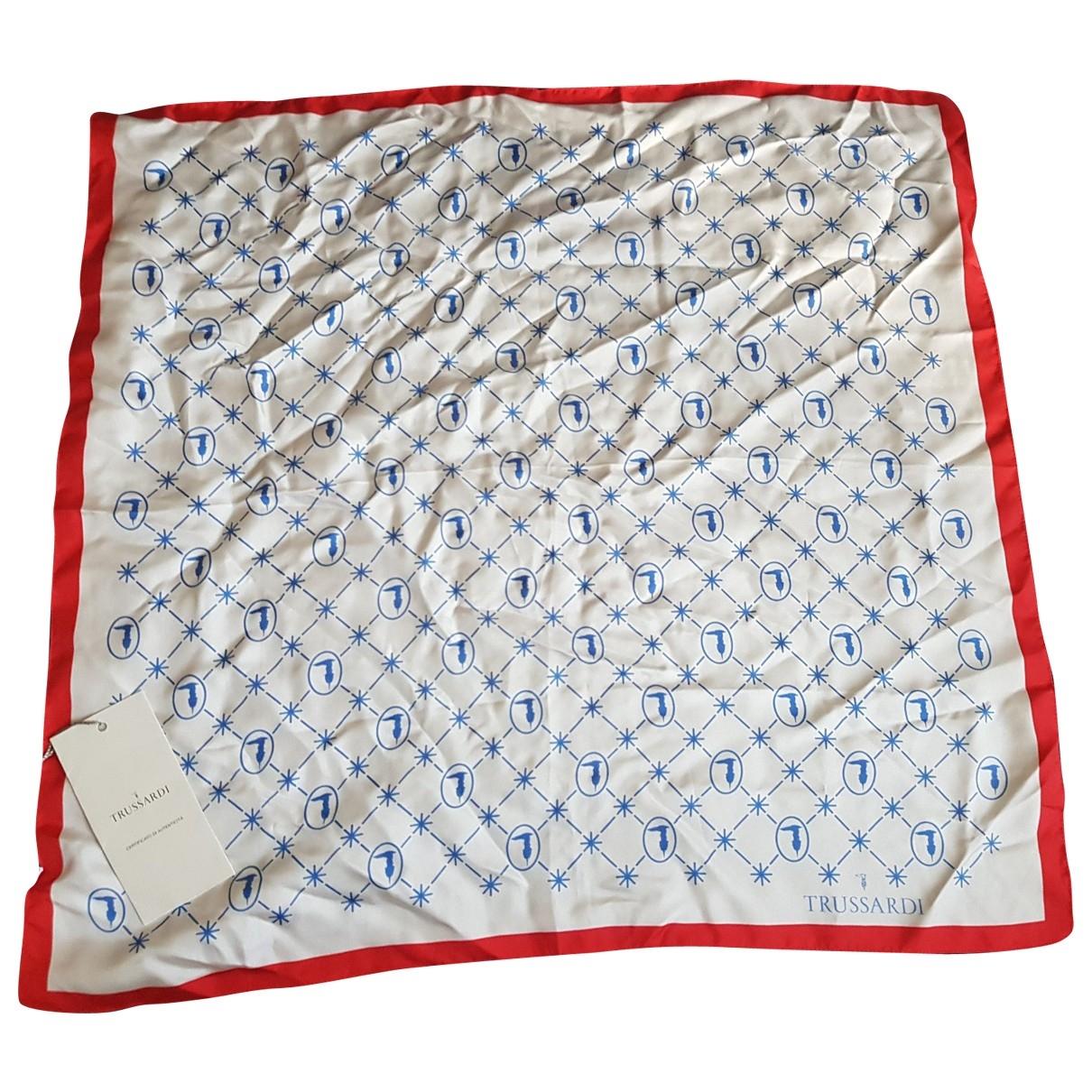 Trussardi - Foulard   pour femme en soie - blanc