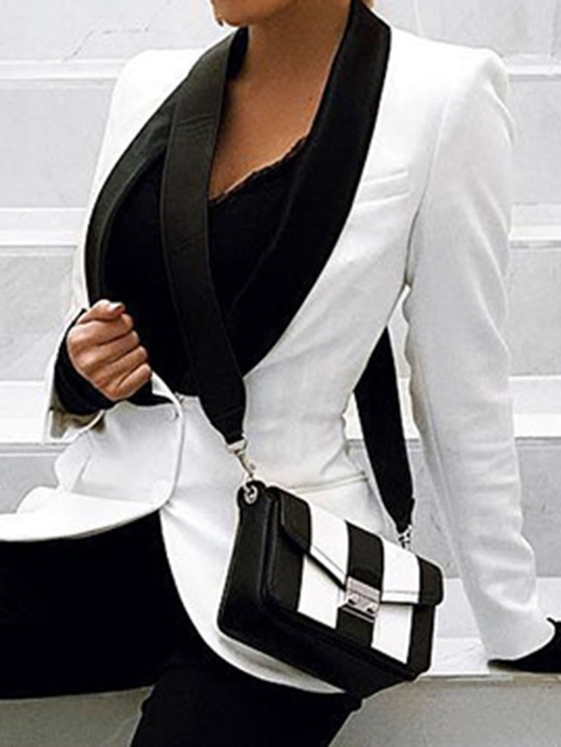 Ericdress Single-Breasted Color Block V-Neck Mid-Length Regular Casual Blazer