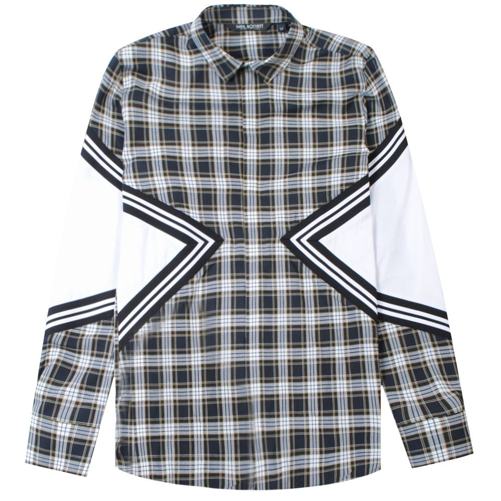 Neil Barrett Chequered Panelled Shirt Colour: BLACK, Size: LARGE