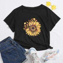 T-Shirt mit Sonnenblumen und Herzen Muster