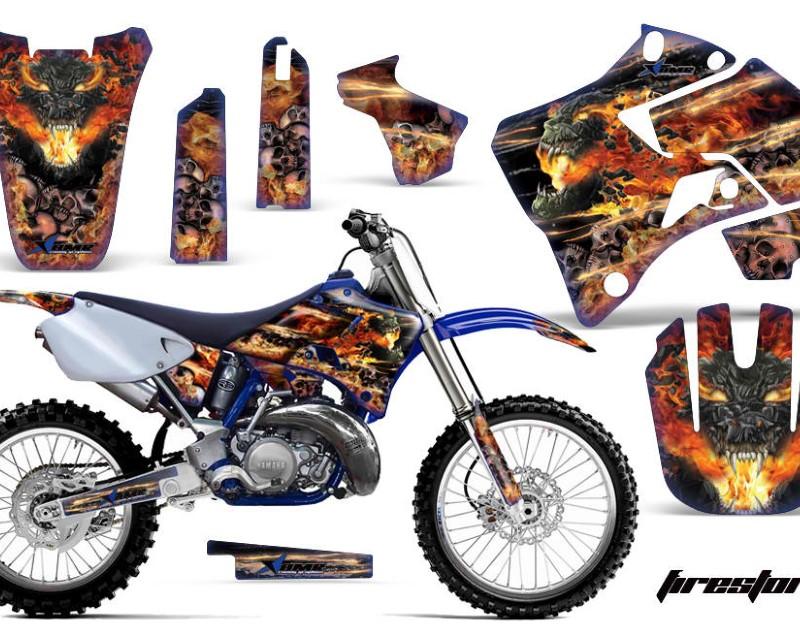AMR Racing Dirt Bike Graphics Kit Decal Sticker Wrap For Yamaha YZ125 YZ250 1996-2001áFIRESTORM  BLUE