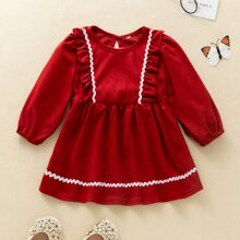 Baby Girl Ruffle Trim Contrast Tape Smock Dress