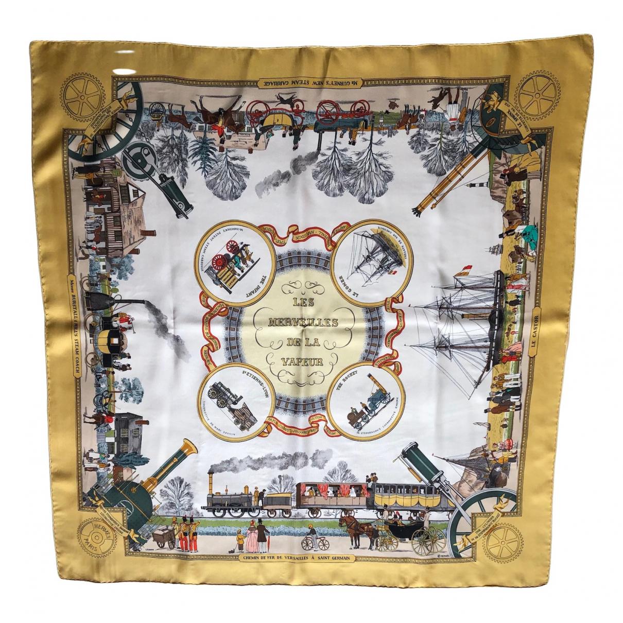 Hermes - Carre Carre 90 pour femme en soie - jaune