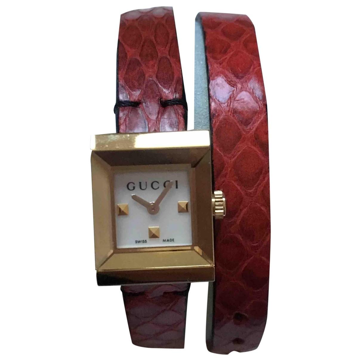 Gucci - Montre   pour femme en acier - rouge
