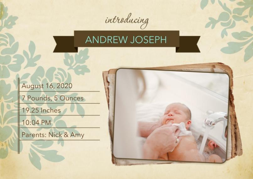 Newborn 5x7 Cards, Premium Cardstock 120lb with Elegant Corners, Card & Stationery -Vintage Floral Birth Announcement