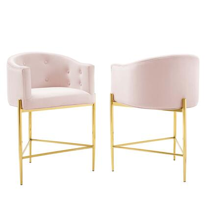 Savour Collection EEI-4596-PNK Set of 2 Counter Stools with Gold Stainless Steel Base  Dense Foam Padding  Footrest Support and Stain-Resistant