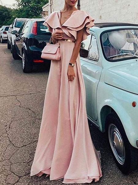 Milanoo Maxi Party Dress V Neck Ruffles Layered Long Summer Dress