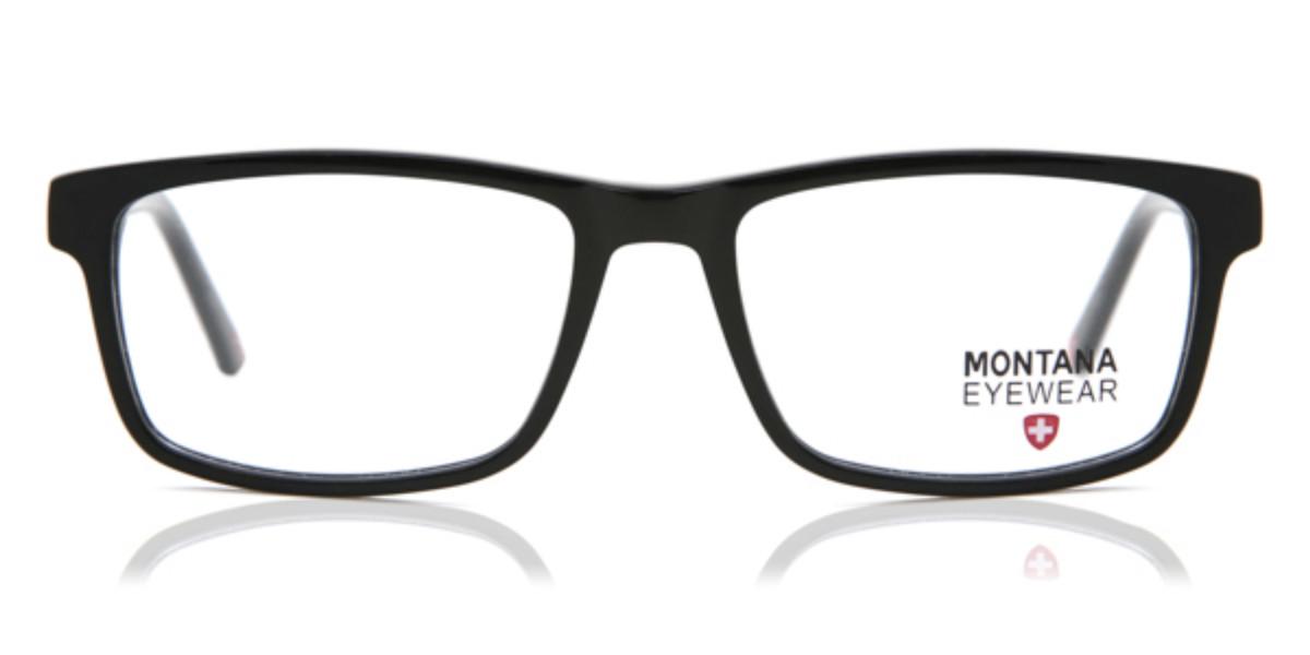 Rectangle Full Rim Plastic Men's Glasses Discount Online Black Size 54, Free Lenses, HSA/FSA Insurance, Blue Light Block Available - Montana Collectio