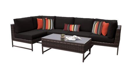 Barcelona BARCELONA-06q-BRN-BLACK 6-Piece Patio Set 06q with 2 Corner Chairs  3 Armless Chairs and 1 Coffee Table - Beige and Black Covers with Brown