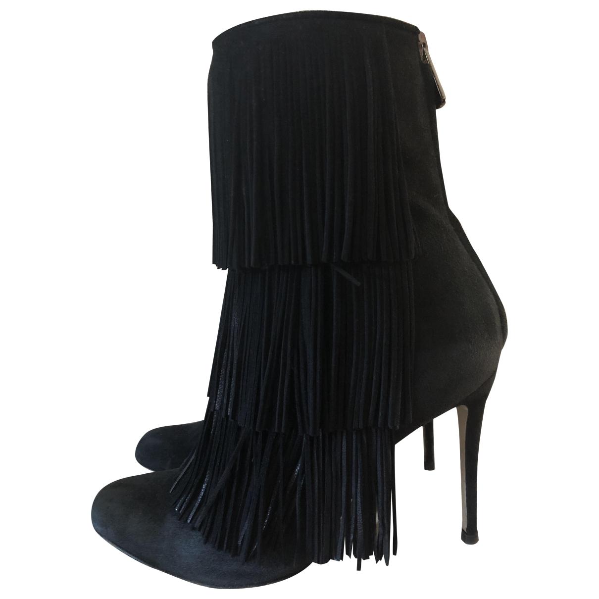 Paul Andrew - Boots   pour femme en suede - noir