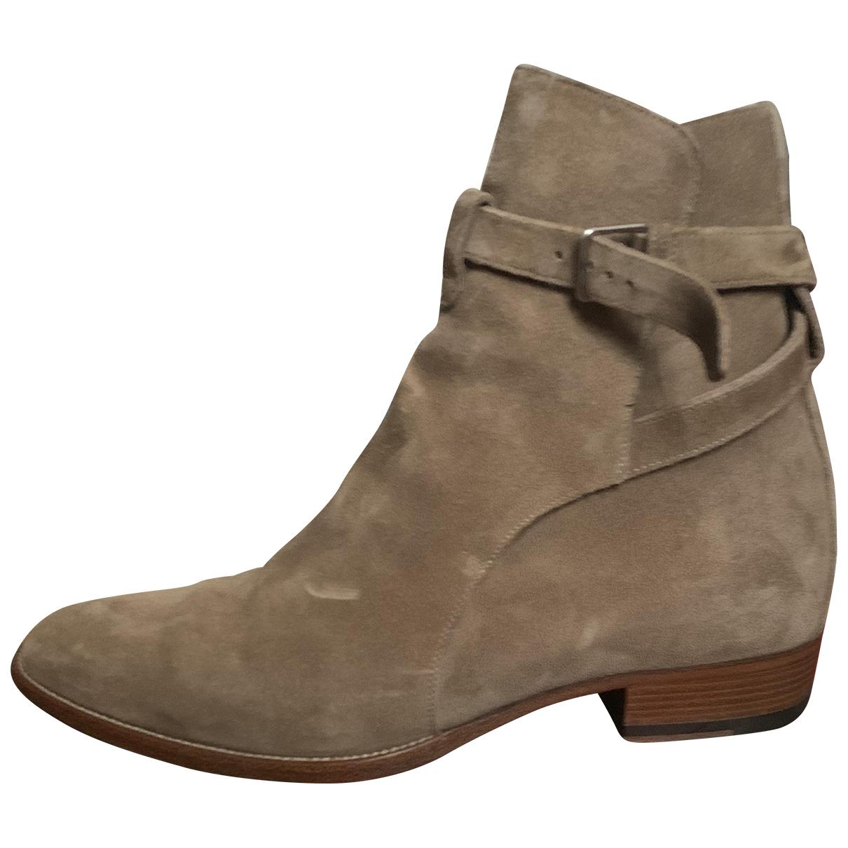 Saint Laurent - Bottes.Boots Wyatt Jodphur pour homme en suede - beige