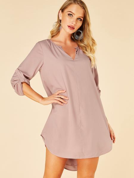 Yoins Pink Pleated V-neck Half Sleeves Dress