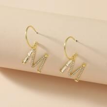 Rhinestone Letter Drop Earrings