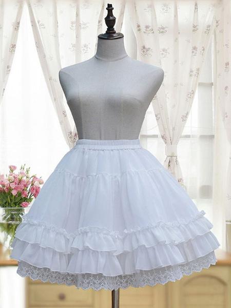 Milanoo White Lolita Petticoat Neverland Ruffles Frills Layered Chiffon Lolita Crinoline