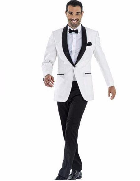 mens 1button white tuxedo suit black shawl lapel (Jacket + Pant + Bow)