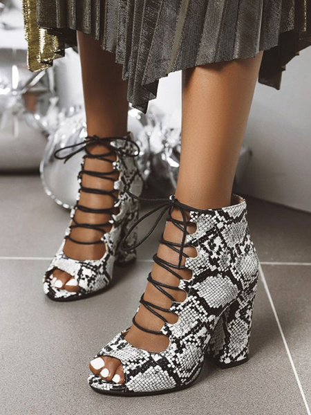 Milanoo Sexy Sandals For Woman Leopard PU Leather Round Toe Sexy Shoes