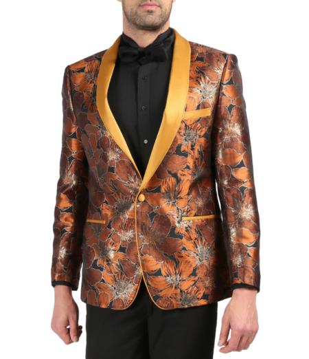 Mens Single Breasted Shawl Lapel Rust Tuxedo Blazer