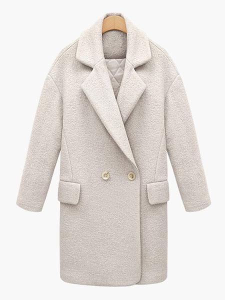 Milanoo abrigo mujer Azul celeste claro con manga larga de cuello vuelto de Acetato Color liso con botones Con botonadura doble Normal estilo moderno