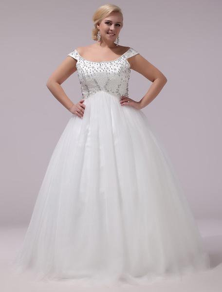 Milanoo Vestido de novia de tul de color marfil con hombro caido