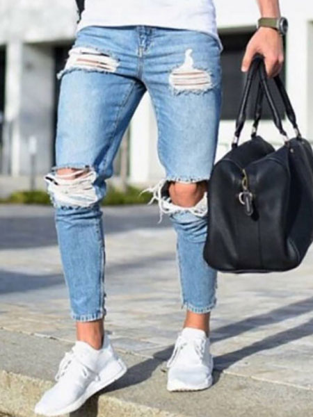Milanoo Men Ripped Jeans Plus Size Distressed Light Blue Tapered Fit Jean
