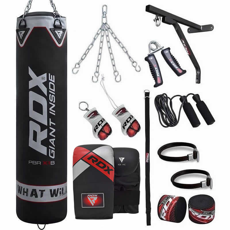 RDX X1 5ft 17pcs Black Punch Bag and Mitts Cardio Workout Kit Unfilled Home Garage Gym Heavy Training Equipment Set MMA Kickboxing Karate Muay Thai