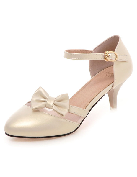 Milanoo Gold PU Pointed Toe High Heels For Woman