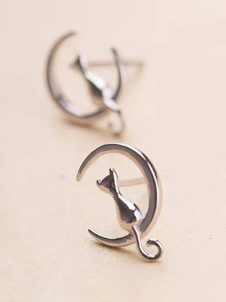 Elegant 925 Sterling Silver Small Animal Ear Stud Moon Cat Women Earrings