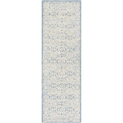 Louvre LOU-2304 26 x 8 Runner Traditional Rug in Navy  Ice Blue