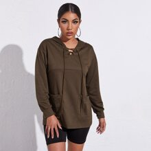 Drop Shoulder Patch Pocket Lace Up Hoodie