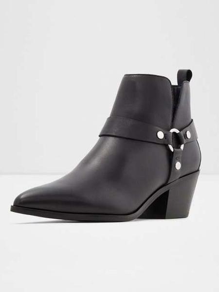 Milanoo Botines de mujer Cuero de PU Detalles de metal negro Botas de punta puntiaguda