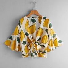Lemon Print Plunging Self-Tie Crop Top