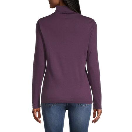 St. John's Bay-Womens Turtleneck Long Sleeve T-Shirt, Medium , Purple