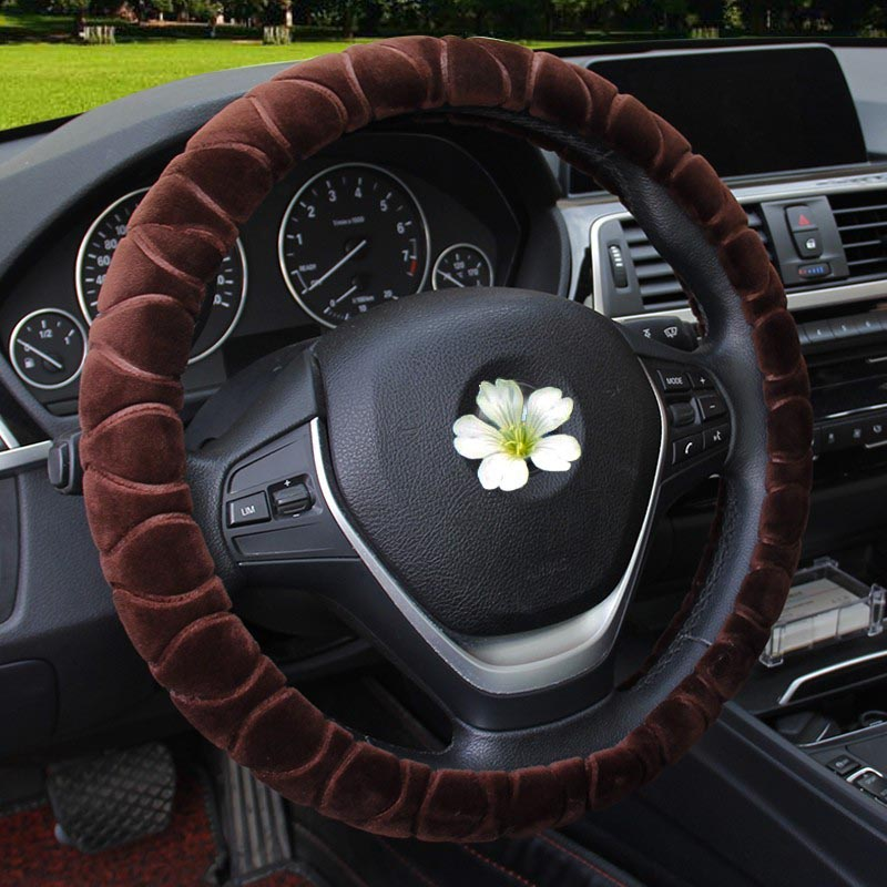 Plush Embossed Automobile Steering Wheel Cover