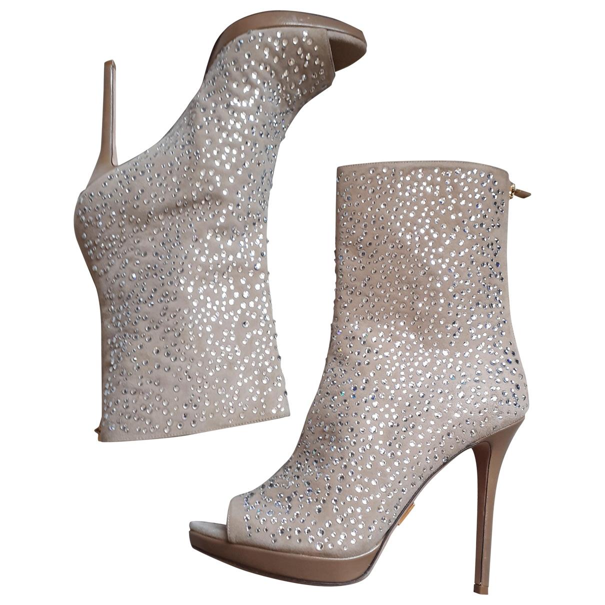 Herve Leger - Boots   pour femme en suede - beige