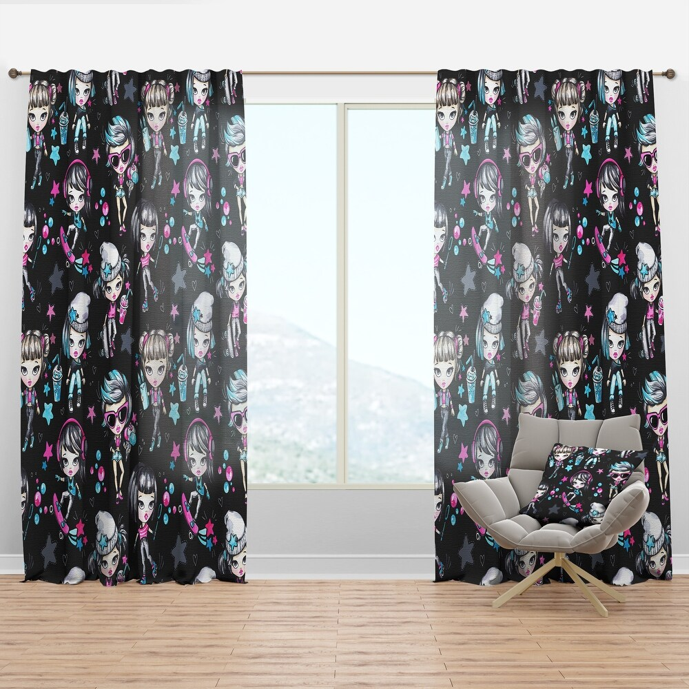 Designart 'Fashion Teenagers Glamorous & Sport Girls' Modern Curtain Panel (50 in. wide x 95 in. high - 1 Panel)