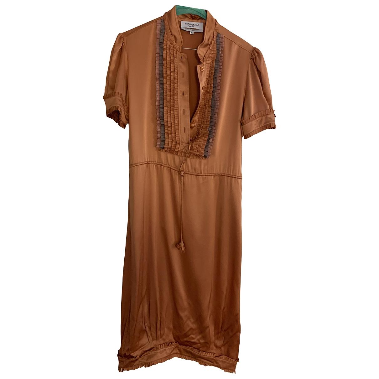 Yves Saint Laurent \N Kleid in  Orange Seide
