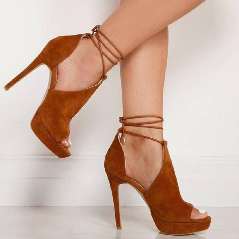 Ericdress Platform Lace-Up Peep Toe Heel Sandals