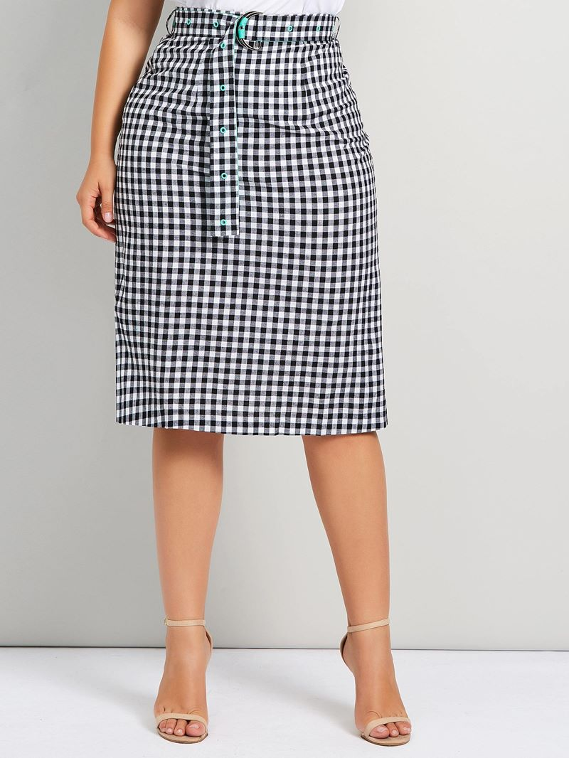Ericdress Plus Size Knee-Length Plaid Belt Mid Waist Skirt