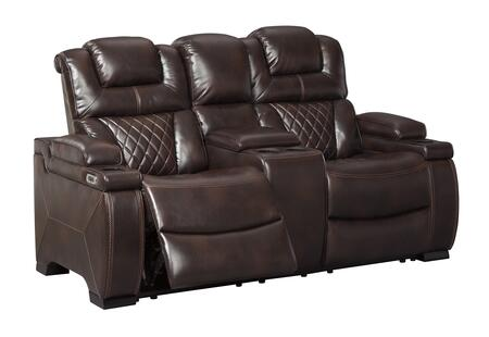 Warnerton Collection 7540718 Power Reclining Loveseat with Console  Adjustable Headrest  Faux Leather Upholstery  Cup Holders and Arm Storage in