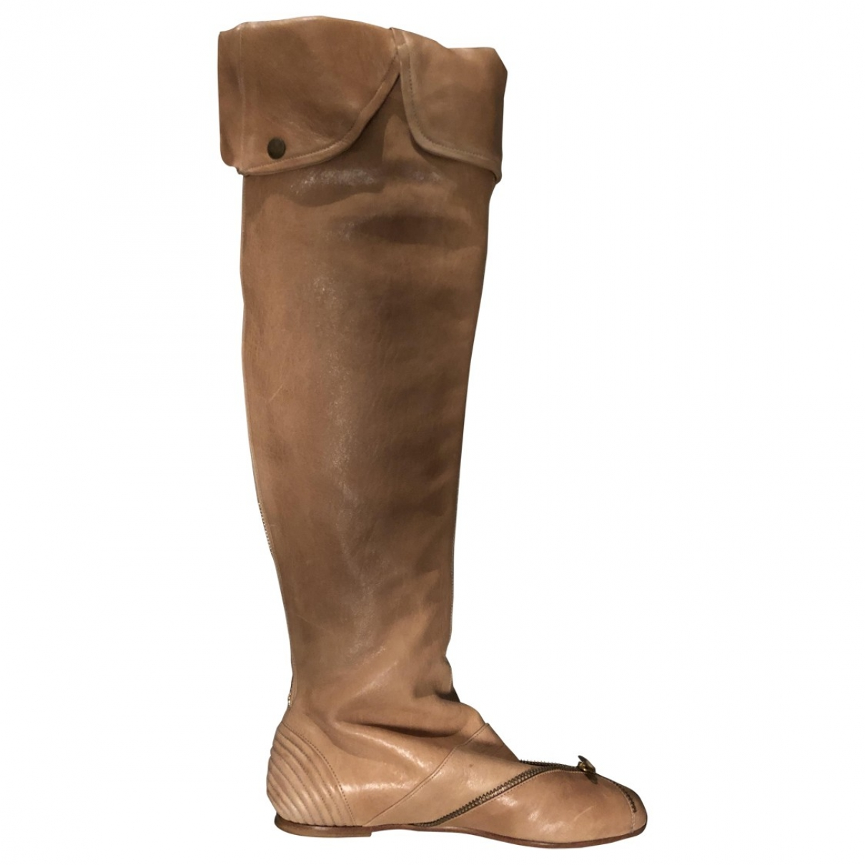 Mcq \N Beige Leather Boots for Women 36 EU
