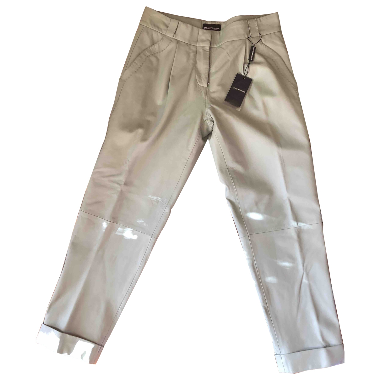 Emporio Armani \N Leather Trousers for Women 40 IT