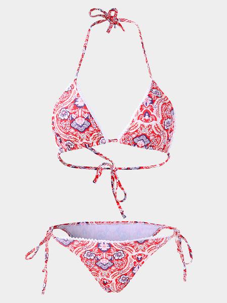Yoins Random Floral Print Calico Halter Bikini Set